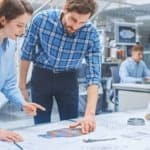 In the Busy Engineering Agency: Diverse Group of Engineers, Tech