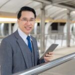 Portrait asian business man business district ,senior visionary executives leader with business vision